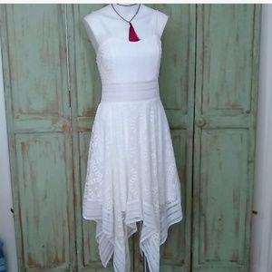 Venus asymmetrical fit flare lace white dress